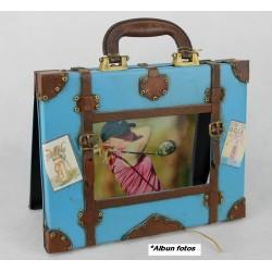 Portafotos maleta azul
