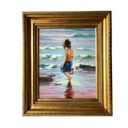 Cuadro niña mar oro 50x60 cm
