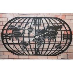 Reloj mapa mundi negro