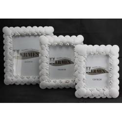 Portafotos blanco conchas