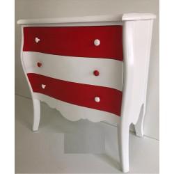 Cómoda Bright blanca y roja