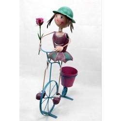 Macetero niña con bicicleta