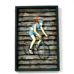 Cuadro ciclista azul