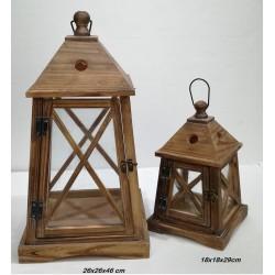 Set 2 faroles de madera