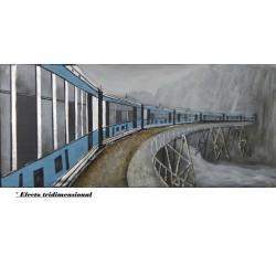 Cuadro 3D Tren azul 80x180